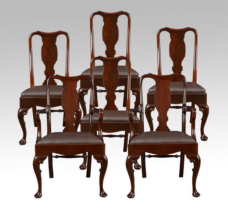Set of six early 20th century Queen Anne style high back dining chairs, having vase shaped back splat, drop-in seat and standing on cabriole supports united by turned rear stretcher, two carvers and four chairs