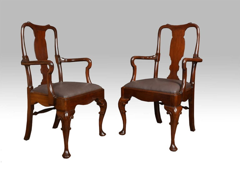 Set of Six Early 20th Century Queen Anne Style High Back Dining Chairs In Good Condition For Sale In Cheshire, GB