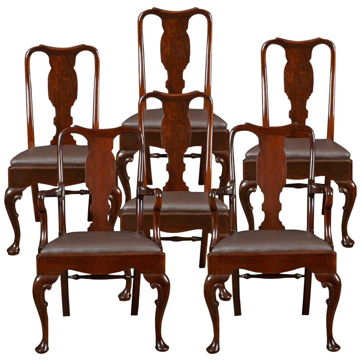 Set of Six Early 20th Century Queen Anne Style High Back Dining Chairs