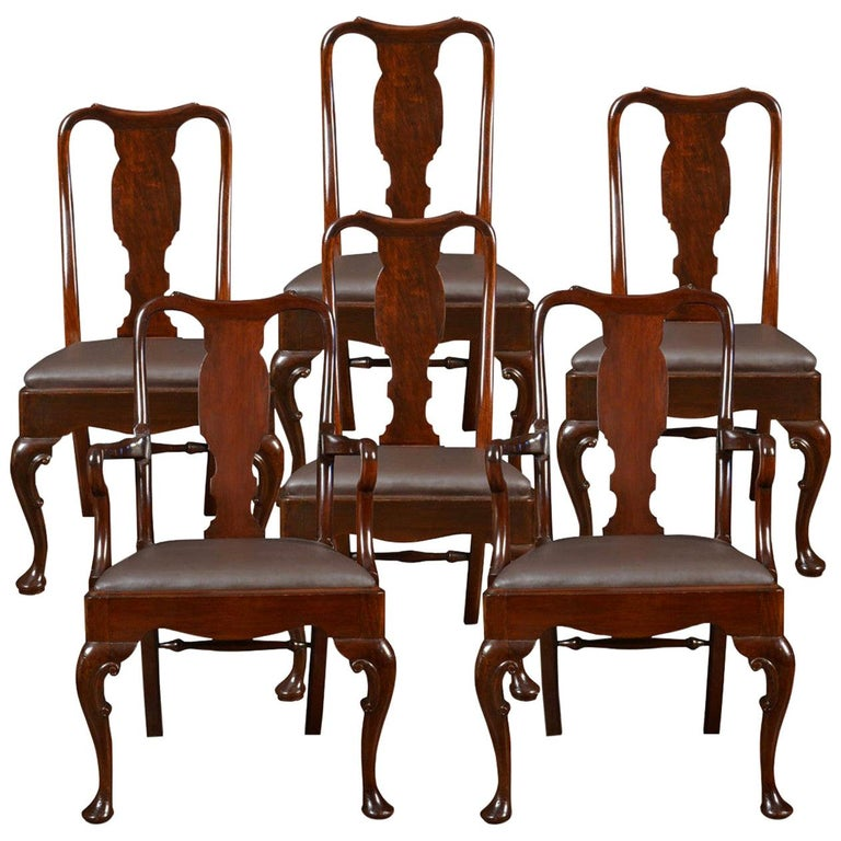 Set of Six Early 20th Century Queen Anne Style High Back Dining Chairs For Sale