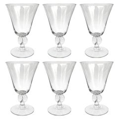 Set of Six Early 20th Century Swedish Crystal Wine Glasses
