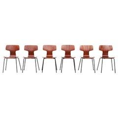 Set of Six Early Arne Jacobsen Model 3103 Hammer Chairs Teak Fritz Hansen, 1950