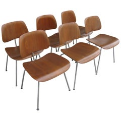 Set of 6 Mid Century Early Evans for Charles + Ray Eames DCM Dining Chairs