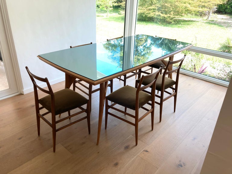 Set of Six Early Leggera Dining Chairs by Gio Ponti for Cassina For Sale 7