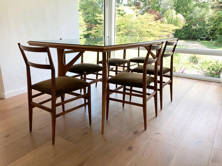 Set of Six Early Leggera Dining Chairs by Gio Ponti for Cassina For Sale 8