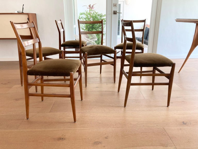 Mid-Century Modern Set of Six Early Leggera Dining Chairs by Gio Ponti for Cassina For Sale