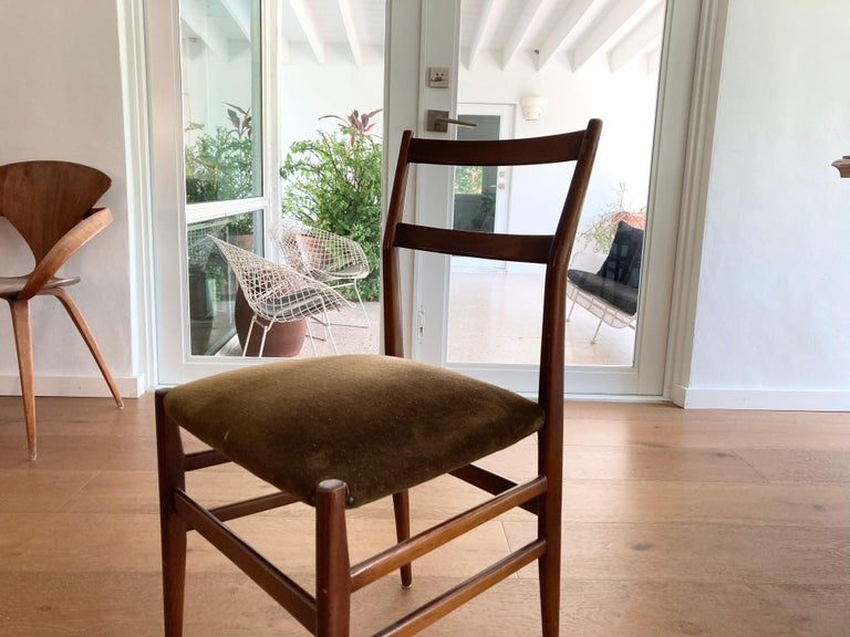 Fabric Set of Six Early Leggera Dining Chairs by Gio Ponti for Cassina For Sale