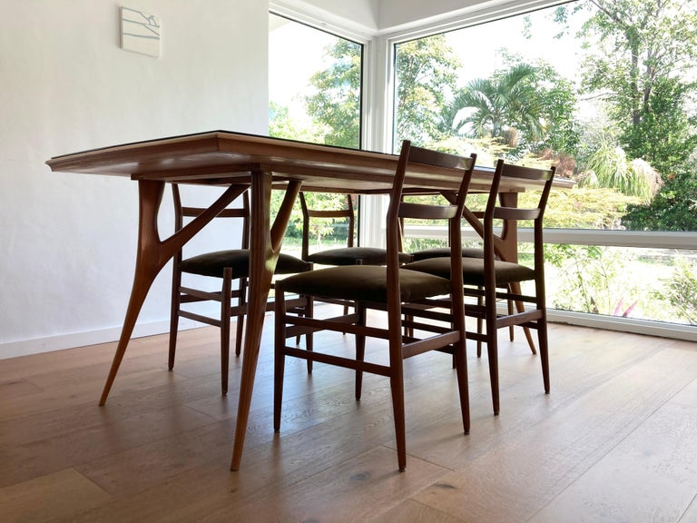 Set of Six Early Leggera Dining Chairs by Gio Ponti for Cassina For Sale 2