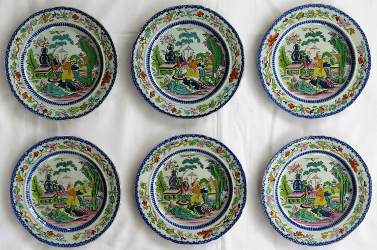 This is a very early set of six matching Mason's ironstone plates, all in the Mogul pattern and dating to the earliest period between 1813-1820.   Sets of early plates in this pattern are rare.   The plates are decorated in thechinoiserie Mogul