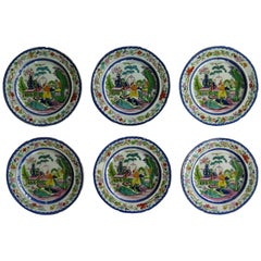 Set of Six Early Mason's Ironstone Plates in the Mogul Pattern, circa 1815