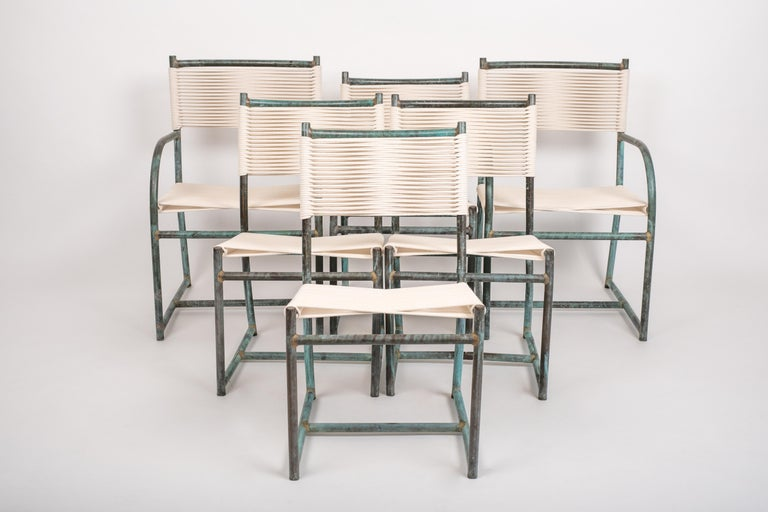 Set of Six Early Model 1940s Bronze Patio Dining Chairs by Walter Lamb For Sale 5