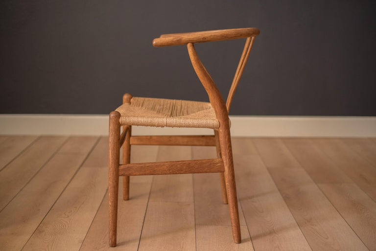 Papercord Set of Six Early Vintage Hans Wegner CH24 Wishbone Dining Chairs For Sale