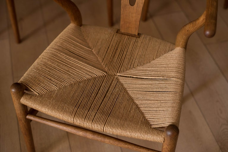 Set of Six Early Vintage Hans Wegner CH24 Wishbone Dining Chairs For Sale 2
