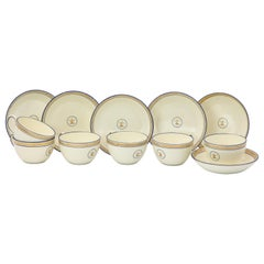 Set of Six Early Wedgwood Creamware Teacups and Saucers