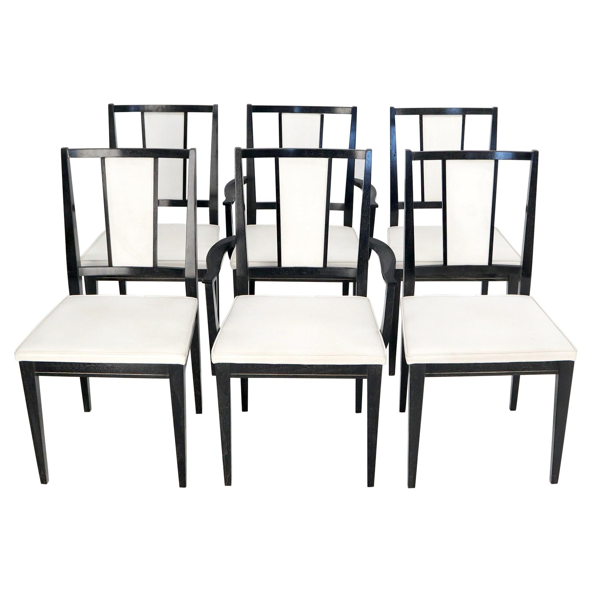 Set of Six Ebonized Cerused Walnut Dining Chairs