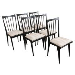 Set of Six Ebonized Midcentury Dining Chairs