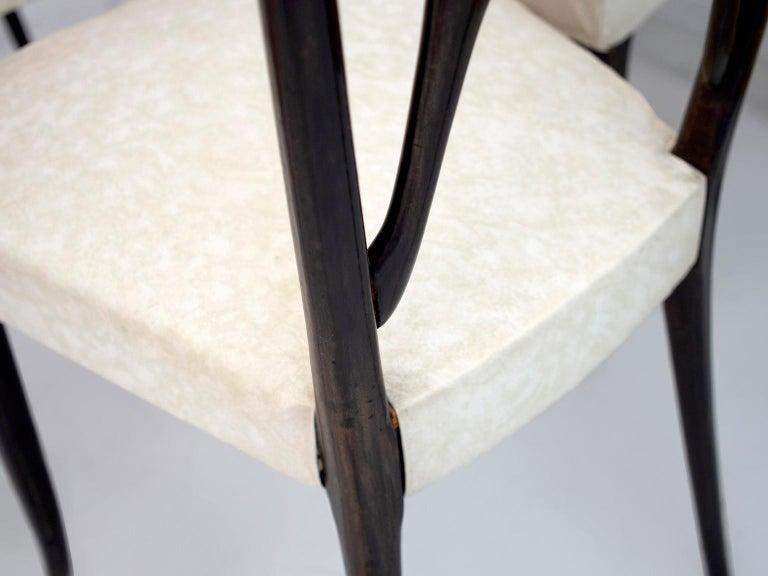 Set of Six Ebonized Wood Dining Chairs 3