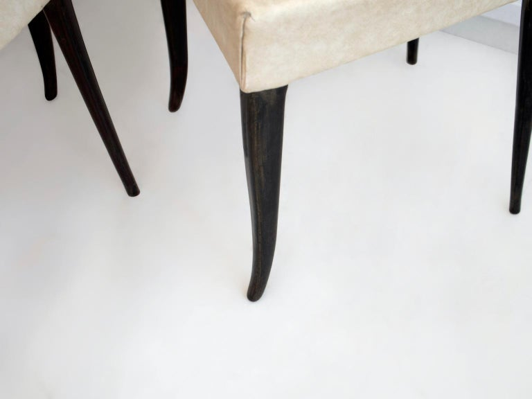 Set of Six Ebonized Wood Dining Chairs 8
