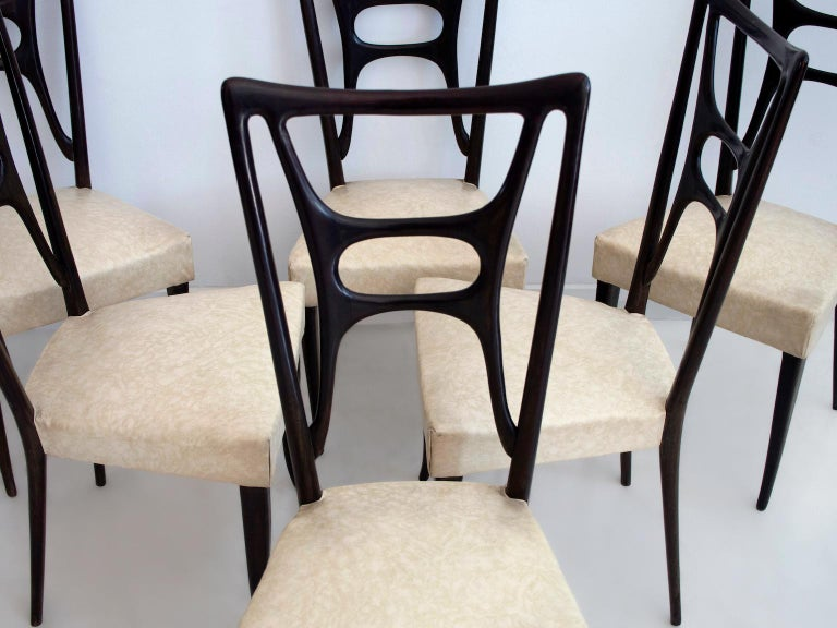 Mid-Century Modern Set of Six Ebonized Wood Dining Chairs