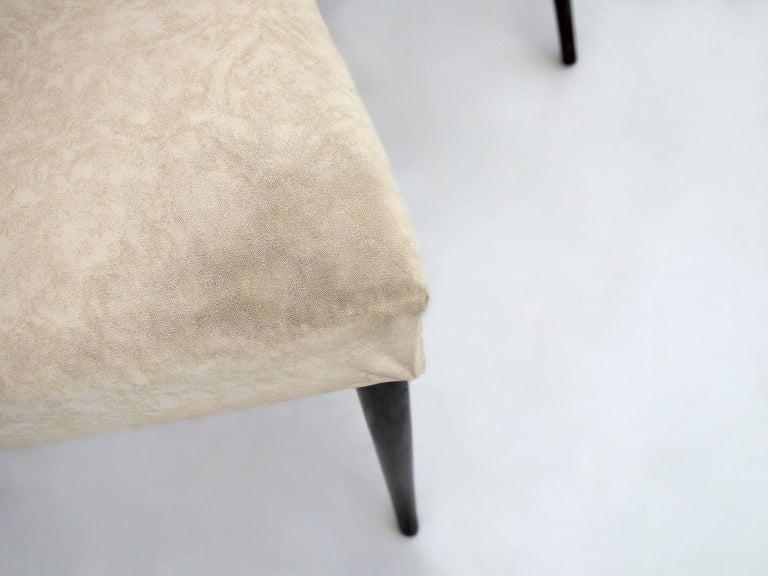 Italian Set of Six Ebonized Wood Dining Chairs