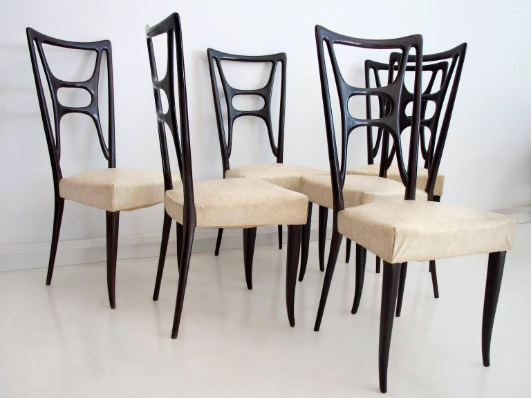 20th Century Set of Six Ebonized Wood Dining Chairs