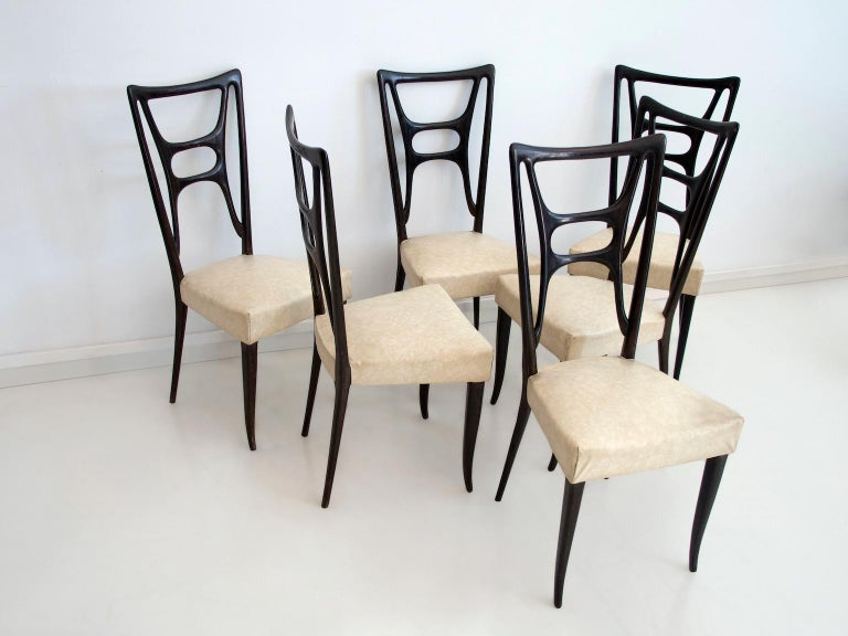 Faux Leather Set of Six Ebonized Wood Dining Chairs