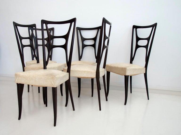 Set of Six Ebonized Wood Dining Chairs 1