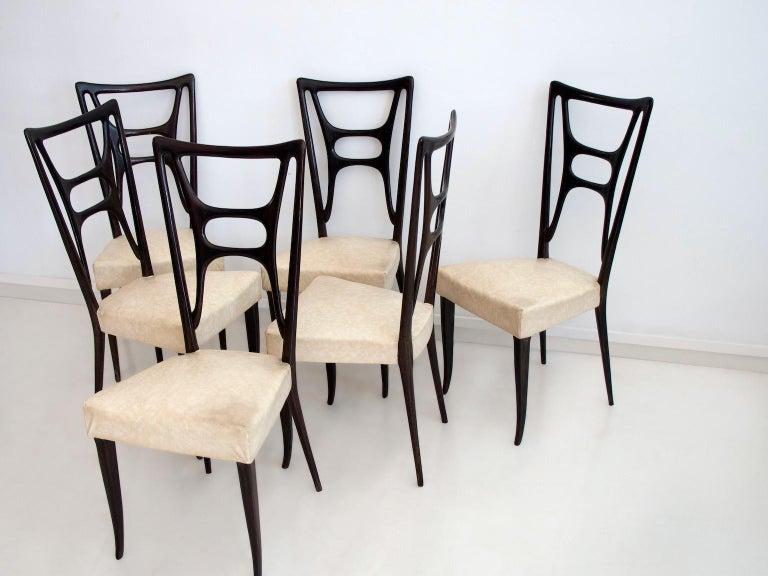 Set of Six Ebonized Wood Dining Chairs 2