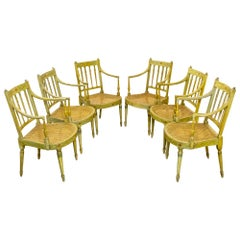 Set of Six Edwardian Painted Armchairs in the George III Style