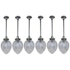 Set of Six Edwardian Silver and Cut Glass Hanging Pendant Lights