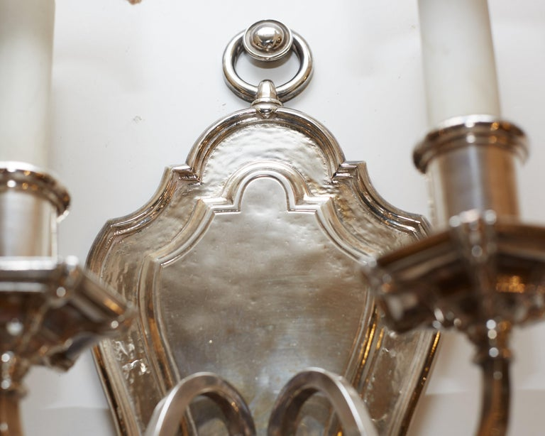 Set of Six E.F. Caldwell Silvered Bronze Shield Back Sconces In Good Condition For Sale In New York, NY
