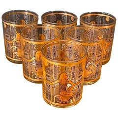 Set of Six Egyptian Double Old Fashion Cocktail Glasses by Culver Ltd