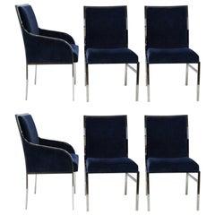 Set of Six Elegant Pierre Cardin Blue Velvet Dining Chairs