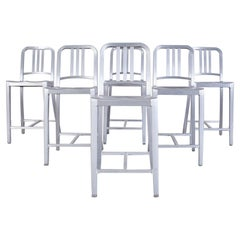 Set of Six Emeco Navy Counter Stools in Brushed Aluminum