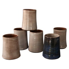 Set of Six Enameled Ceramic Cups, Cloutier, France