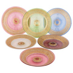 Set of Six Enamelled and Parcel Gilt Colored Plates by Brocard