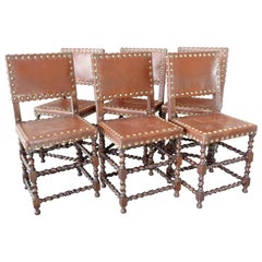 Set of Six English Barley Twist Chairs from the 19th Century