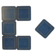 Set of Six English Blue and Gold Cocktail or Drinks Coasters
