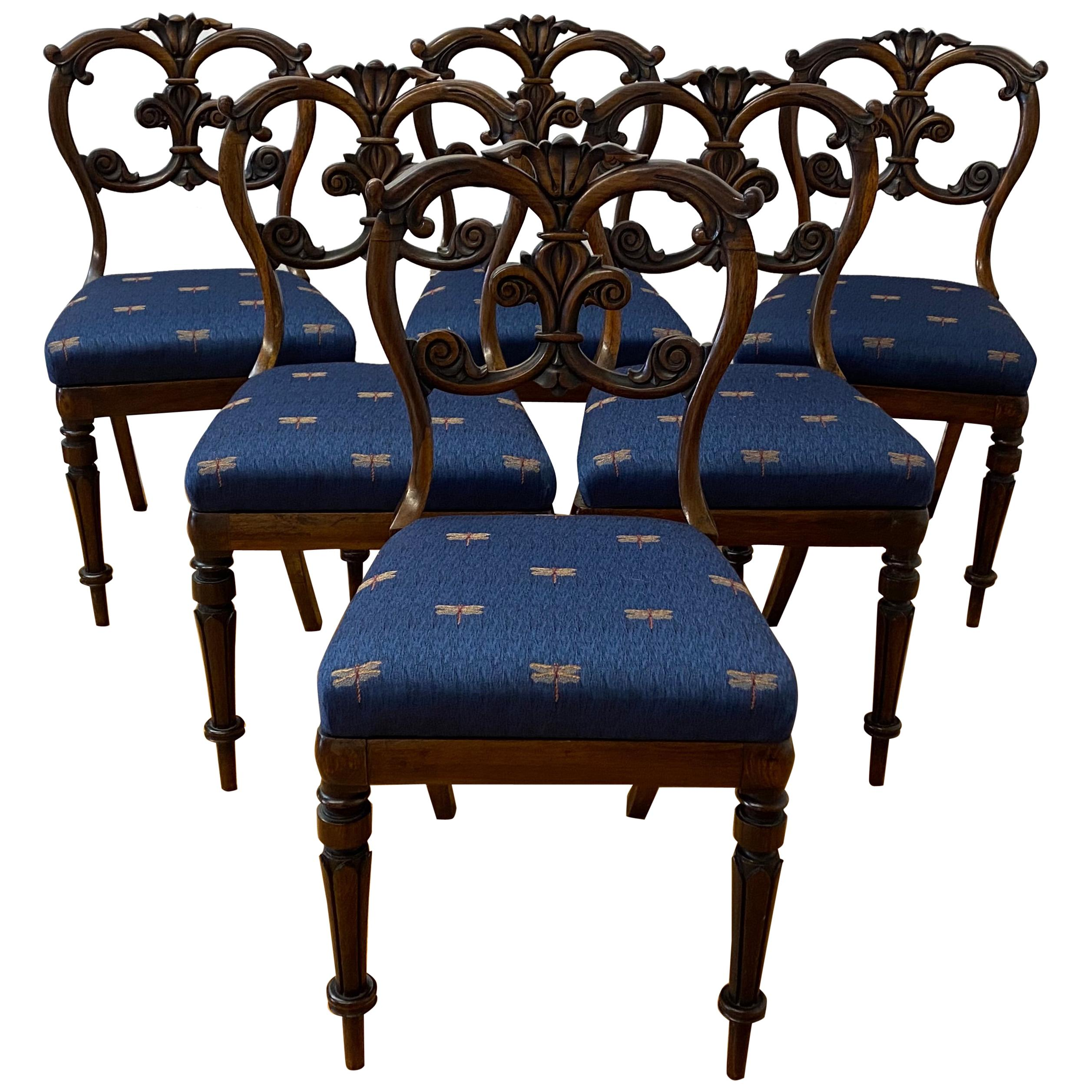 Set of Six English Carved Rosewood Dining Chairs, C.1850