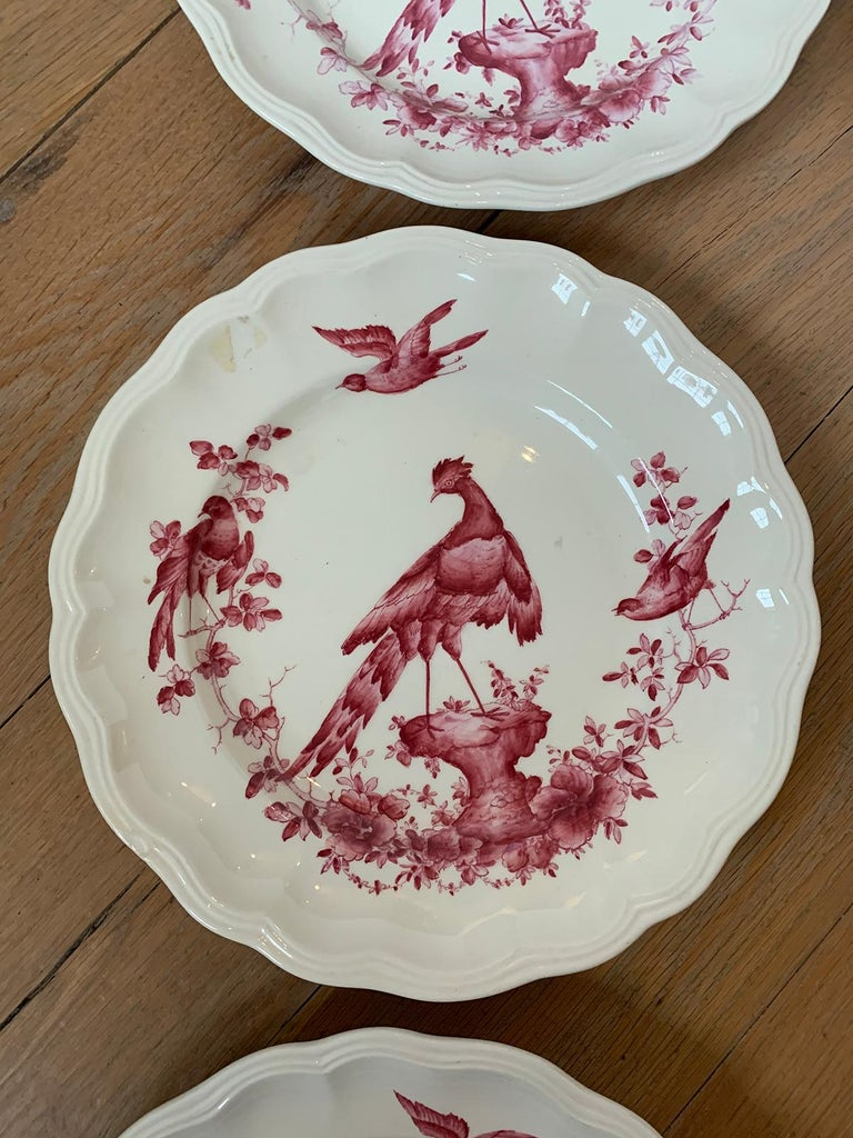 Set of Six English Copeland Spode Chelsea Bird Pattern Dinner Plates, Marked For Sale 6