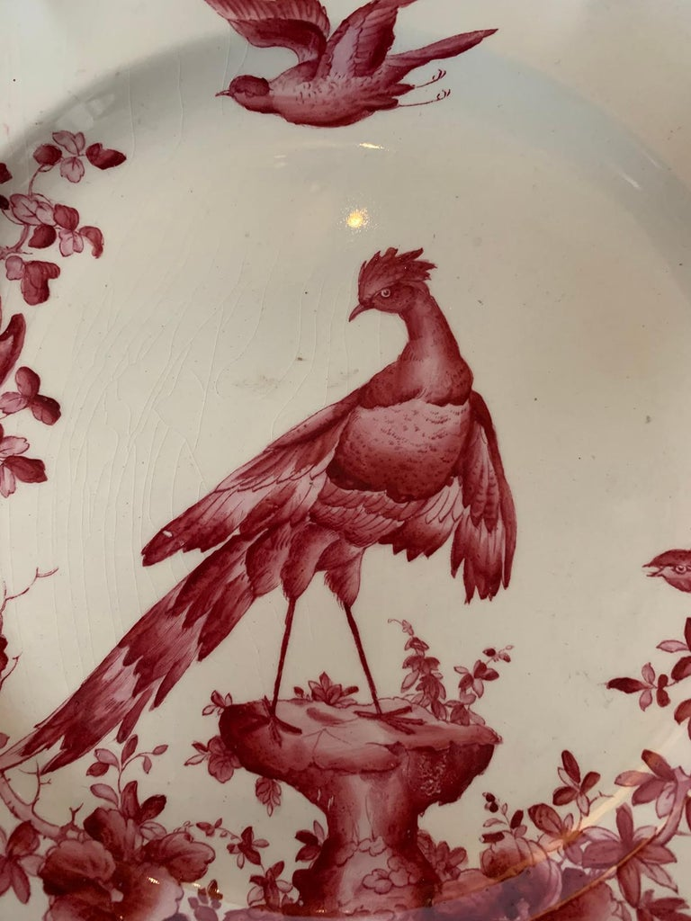 Set of Six English Copeland Spode Chelsea Bird Pattern Dinner Plates, Marked For Sale 12