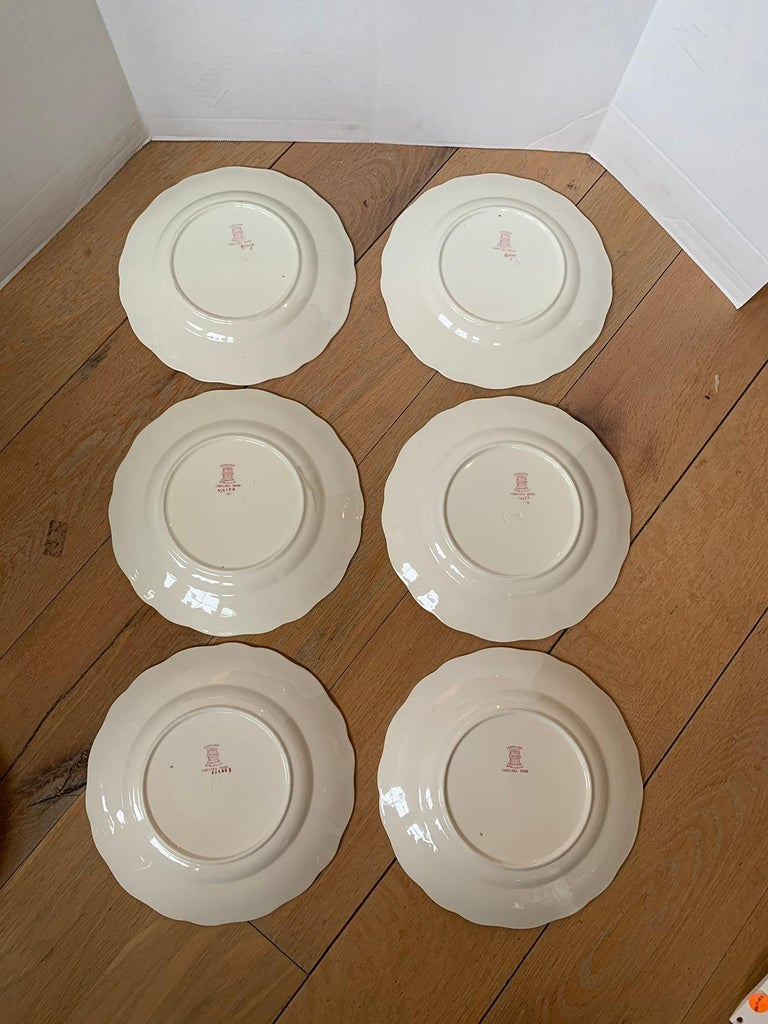 Set of Six English Copeland Spode Chelsea Bird Pattern Dinner Plates, Marked In Good Condition For Sale In Atlanta, GA