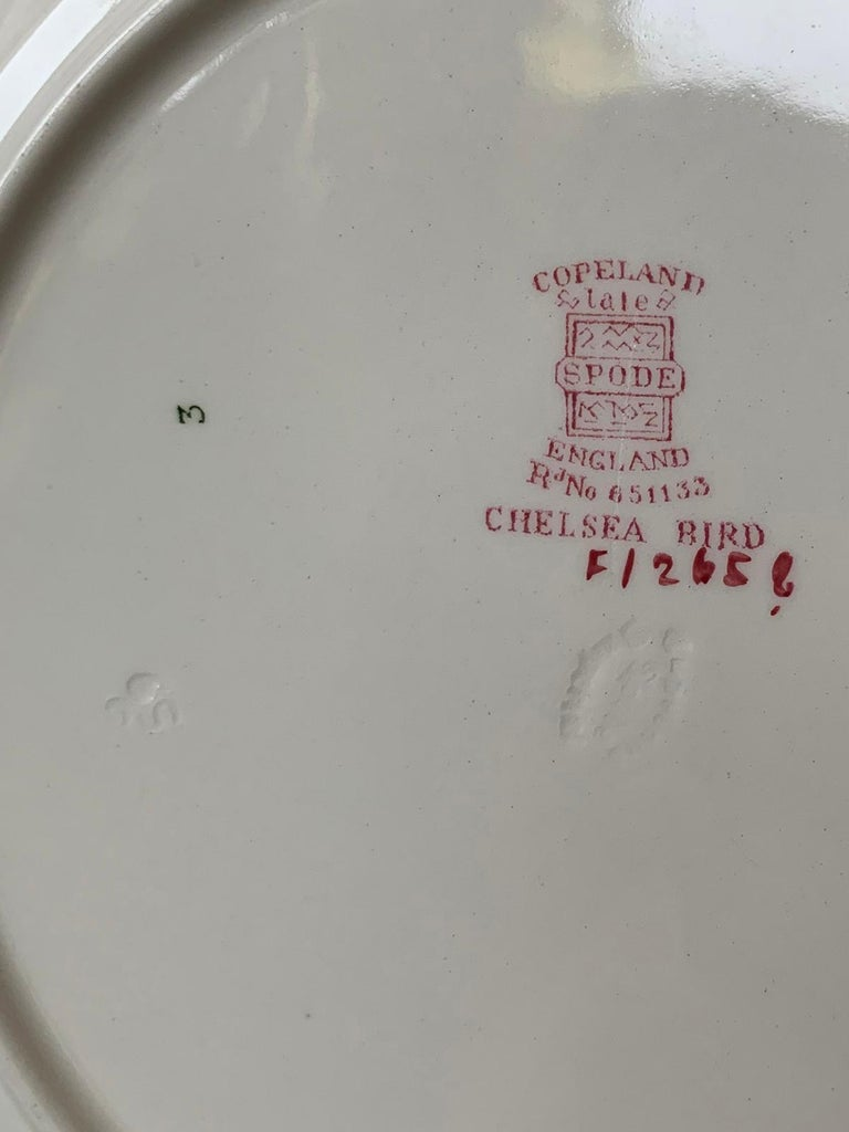 Porcelain Set of Six English Copeland Spode Chelsea Bird Pattern Dinner Plates, Marked For Sale