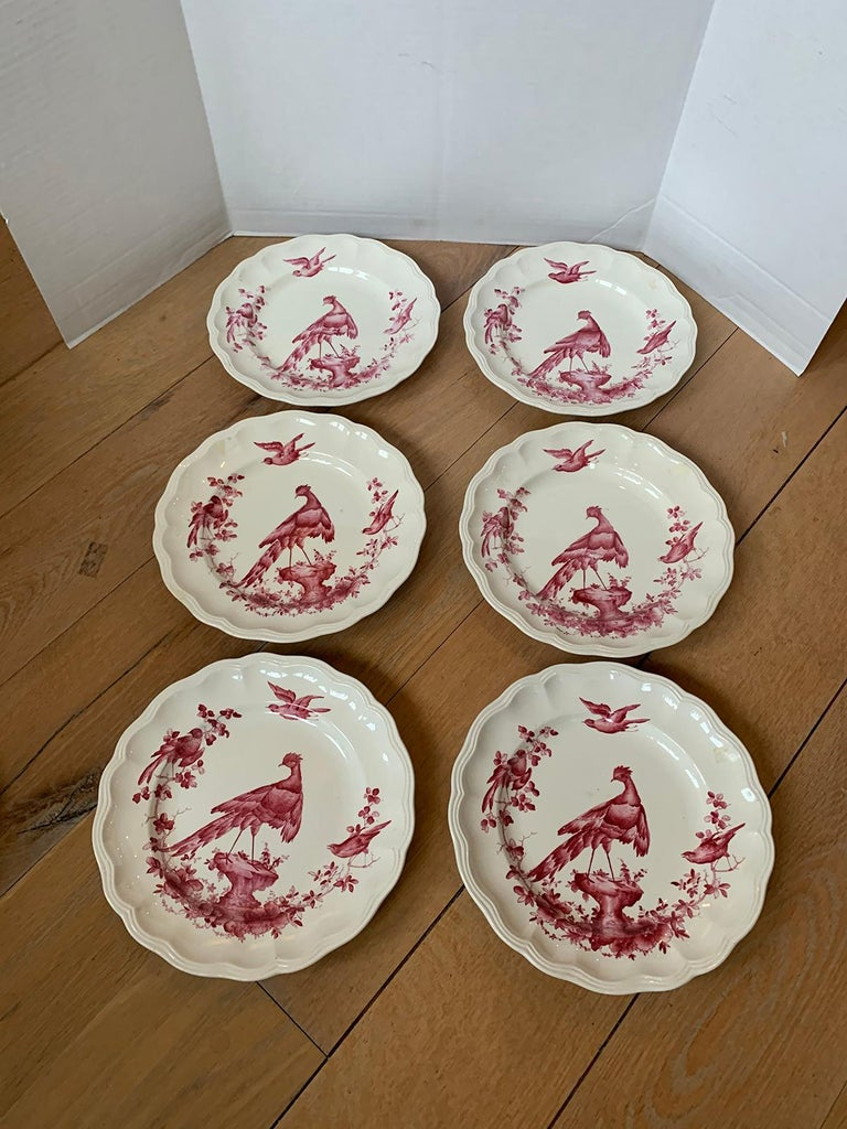 Set of Six English Copeland Spode Chelsea Bird Pattern Dinner Plates, Marked For Sale 3