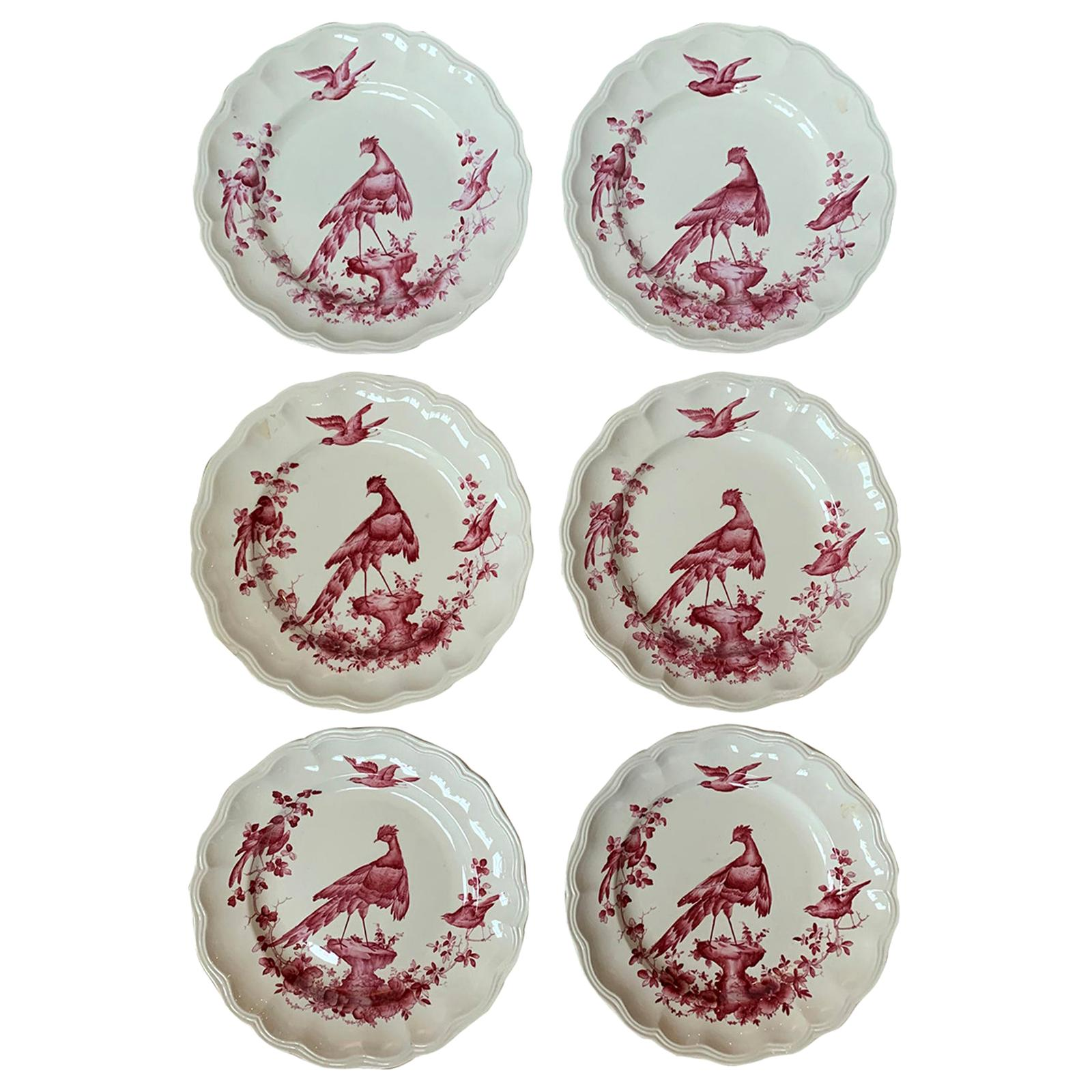 Set of Six English Copeland Spode Chelsea Bird Pattern Dinner Plates, Marked