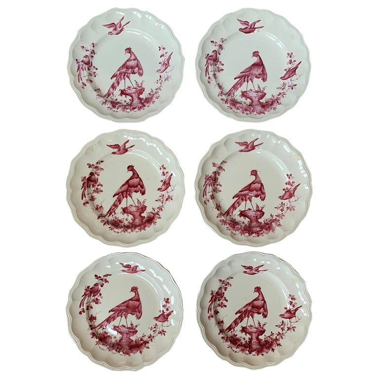 Set of Six English Copeland Spode Chelsea Bird Pattern Dinner Plates, Marked For Sale