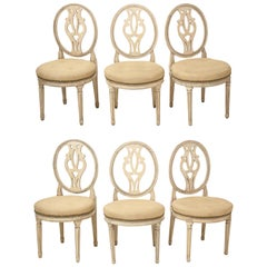 Set of Six English Cream-Painted Hepplewhite Side Chairs