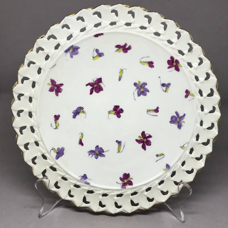 English Set of Six Pink and Purple Floral Gilt Plates For Sale