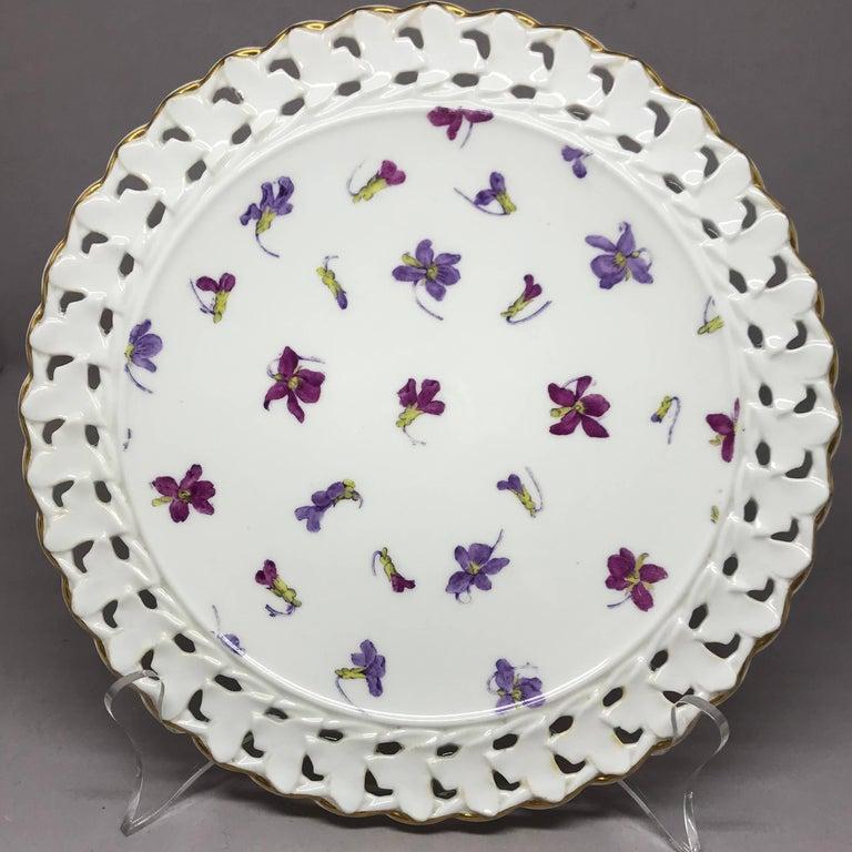 Porcelain Set of Six Pink and Purple Floral Gilt Plates For Sale