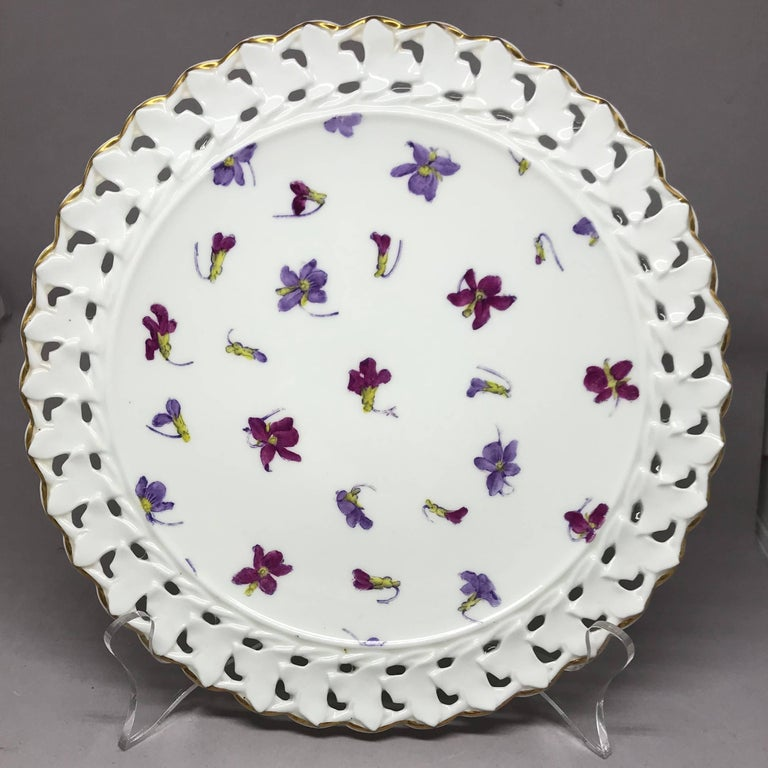 Set of Six Pink and Purple Floral Gilt Plates For Sale 1
